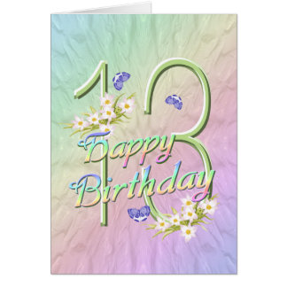 13th Birthday Butterflies and Flowers Card
