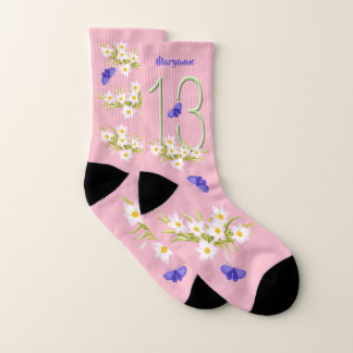 13th Birthday Butterfly Garden Custom Socks