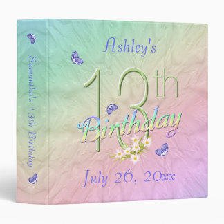 13th Birthday Butterfly Rainbow Binder