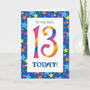 13th Birthday Card For Son Stripes And Stars