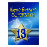 13th Birthday card for Superstar