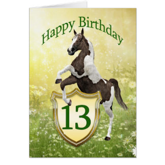 13th birthday card with a rearing horse