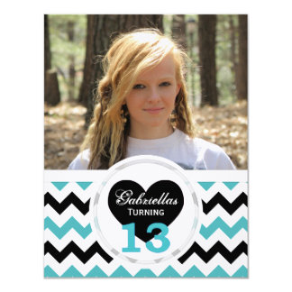 "13th Birthday Chevron Print: B&W Party Invitation 4.25"" X 5.5"" Invitation Card"