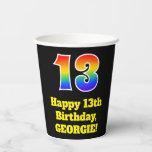 [ Thumbnail: 13th Birthday: Colorful, Fun, Exciting, Rainbow 13 ]