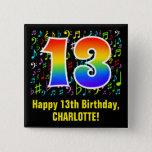 [ Thumbnail: 13th Birthday: Colorful Music Symbols, Rainbow 13 Button ]