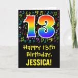 [ Thumbnail: 13th Birthday: Colorful Music Symbols + Rainbow 13 Card ]