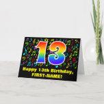 [ Thumbnail: 13th Birthday: Colorful Music Symbols & Rainbow 13 Card ]