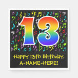 [ Thumbnail: 13th Birthday - Colorful Music Symbols, Rainbow 13 Napkins ]