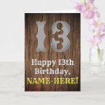 [ Thumbnail: 13th Birthday: Country Western Inspired Look, Name Card ]