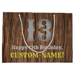 [ Thumbnail: 13th Birthday: Country Western Inspired Look, Name Gift Bag ]