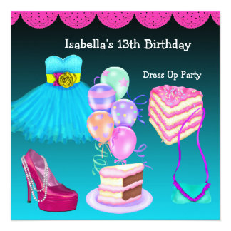 13th Birthday Dress Up Party Teal Pink Card
