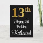 [ Thumbnail: 13th Birthday ~ Elegant Luxurious Faux Gold Look # Card ]