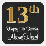 [ Thumbnail: 13th Birthday – Elegant Luxurious Faux Gold Look # Sticker ]