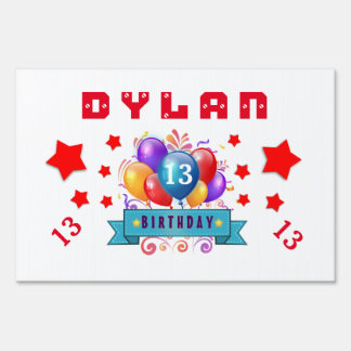 13th Birthday Festive Balloons and Red Stars 102Z Lawn Sign