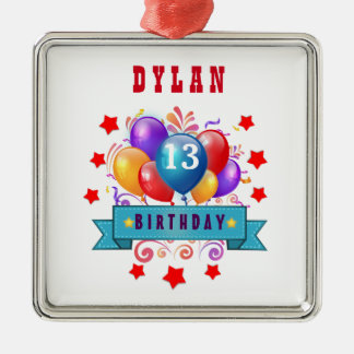 13th Birthday Festive Balloons and Red Stars 102Z Square Metal Christmas Ornament