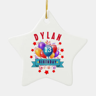 13th Birthday Festive Balloons and Red Stars 102Z Double-Sided Star Ceramic Christmas Ornament