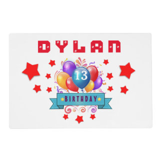 13th Birthday Festive Balloons and Red Stars 102Z Placemat