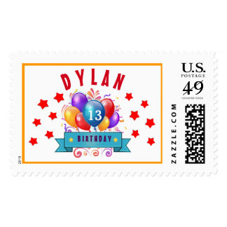 13th Birthday Festive Balloons and Red Stars 102Z Postage