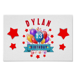 13th Birthday Festive Balloons and Red Stars 102Z Poster
