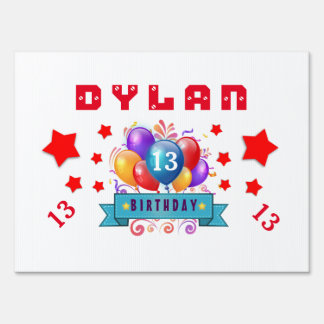 13th Birthday Festive Balloons and Red Stars 102Z Yard Sign