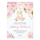 13th birthday Floral Invitation, Card