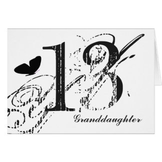 13th birthday for a granddaughter, butterfly. card
