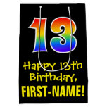 "[ Thumbnail: 13th Birthday: Fun, Bold, Colorful, Rainbow ""13"" Gift Bag ]"