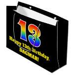 [ Thumbnail: 13th Birthday ~ Fun, Colorful, Vibrant, Rainbow 13 Gift Bag ]