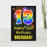[ Thumbnail: 13th Birthday: Fun Fireworks Pattern + Rainbow 13 Card ]