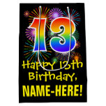 [ Thumbnail: 13th Birthday: Fun Fireworks Pattern + Rainbow 13 Gift Bag ]