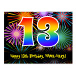 [ Thumbnail: 13th Birthday – Fun Fireworks Pattern + Rainbow 13 Postcard ]