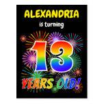 "[ Thumbnail: 13th Birthday - Fun Fireworks, Rainbow Look ""13"" Postcard ]"