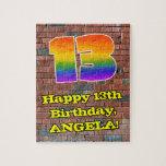 [ Thumbnail: 13th Birthday: Fun Graffiti-Inspired Rainbow 13 Jigsaw Puzzle ]