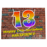 [ Thumbnail: 13th Birthday: Fun, Graffiti-Inspired Rainbow # 13 Gift Bag ]