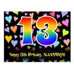 [ Thumbnail: 13th Birthday: Fun Hearts Pattern, Rainbow 13 Postcard ]