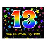 [ Thumbnail: 13th Birthday: Fun Stars Pattern, Rainbow 13, Name Postcard ]