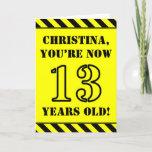 [ Thumbnail: 13th Birthday: Fun Stencil Style Text, Custom Name Card ]