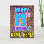 [ Thumbnail: 13th Birthday - Fun, Urban Graffiti Inspired Look Card ]