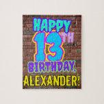 [ Thumbnail: 13th Birthday ~ Fun, Urban Graffiti Inspired Look Jigsaw Puzzle ]
