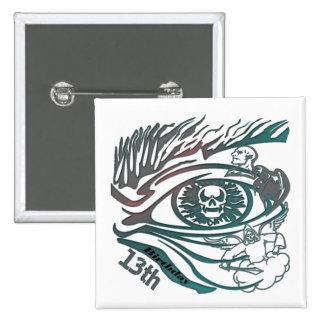 13th Birthday Gifts Warrior Skull Pinback Button