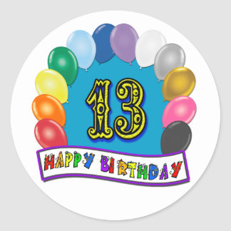13th Birthday Gifts with Assorted Balloons Design Classic Round Sticker