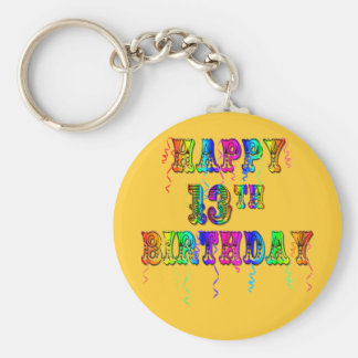 13th Birthday Gifts with Circus Balloon Font Basic Round Button Keychain