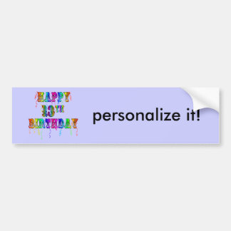 13th Birthday Gifts with Circus Balloon Font Bumper Sticker