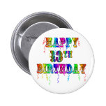 13th Birthday Gifts with Circus Balloon Font Pinback Button