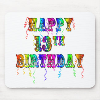 13th Birthday Gifts with Circus Balloon Font Mouse Pad