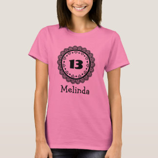 13th Birthday Girl Big Number Lace Frame Name A06 T-Shirt