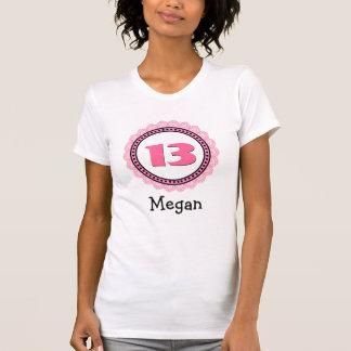 13th Birthday Girl Big Number Lace Frame Name V66K T-shirts