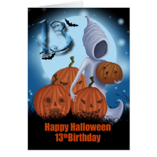 13th Birthday Halloween Ghost And Pumpkins Card