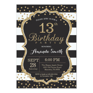 13th Birthday Invitation Black And Gold Glitter
