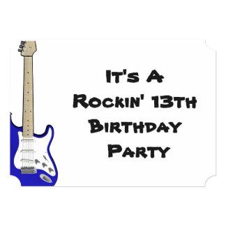 13th Birthday Invitation, blue and white guitar. Card